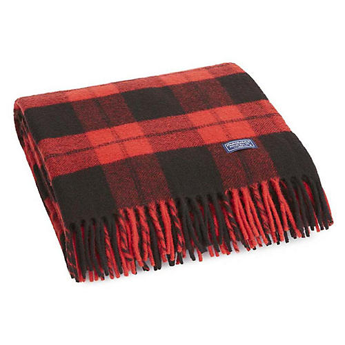 Bison Merino Wool Throw, Red/Black