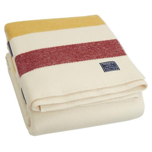 Revival Merino Wool Throw, Yellow/Red Stripe