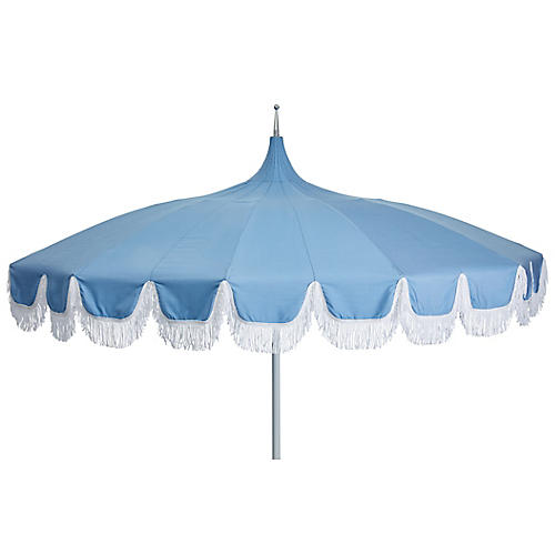 Aya Pagoda Fringe Patio Umbrella, Light Blue