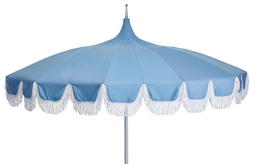 Aya Pagoda Fringe Patio Umbrella, Light Blue