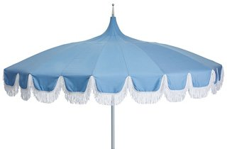 Aya Pagoda Fringe Patio Umbrella, Light Blue   One Kings Lane Outdoor    Brands | One Kings Lane
