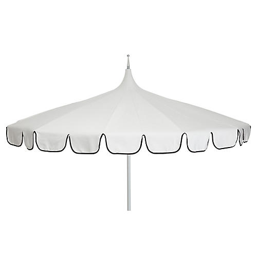 Aya Pagoda Patio Umbrella, Ivory/Black