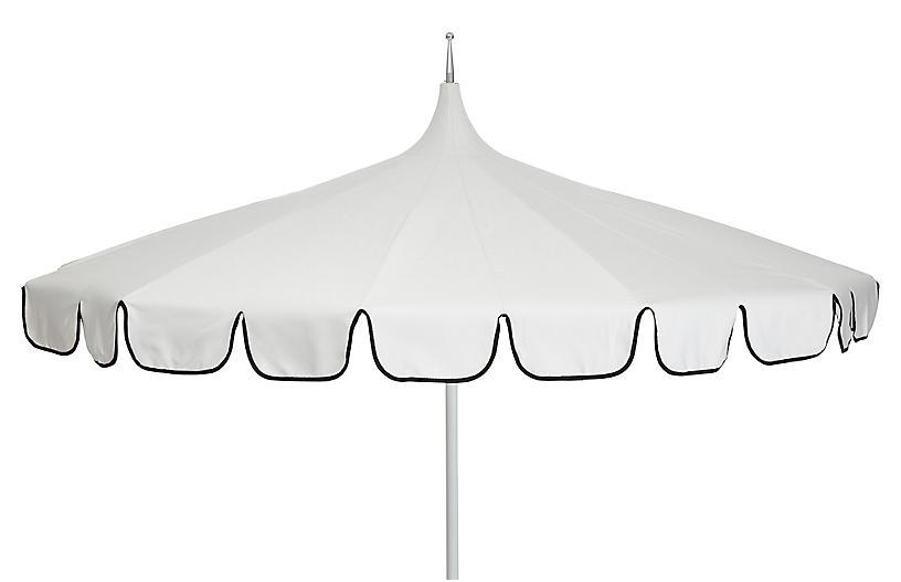 Aya Pagoda Patio Umbrella, Ivory/Black