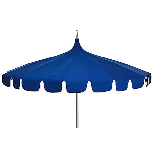 Aya Pagoda Patio Umbrella, Blue/White