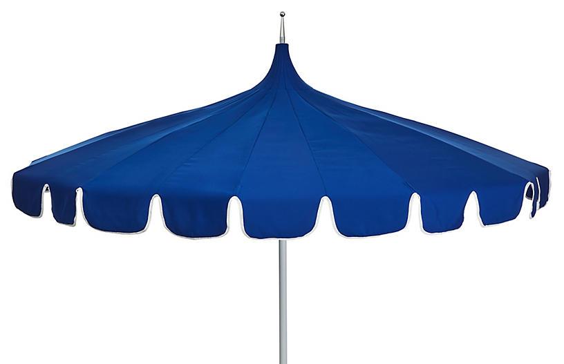 Aya Pagoda Patio Umbrella, Blue/White