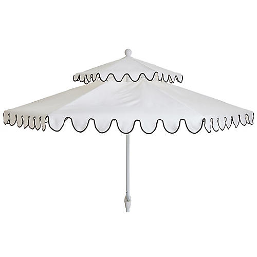Daiana Two-Tier Patio Umbrella, White/Black