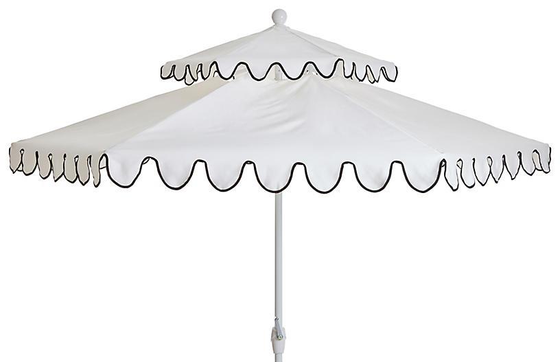 Daiana Two-Tier Patio Umbrella, White/Black