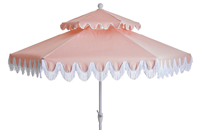 Daiana Two-Tier Fringe Patio Umbrella, Light Pink