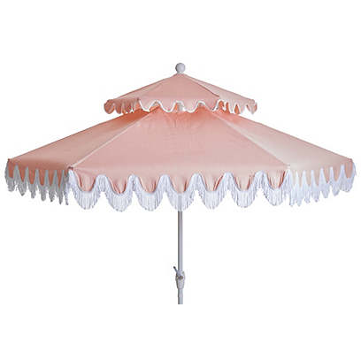 Daiana Two-Tier Fringe Patio Umbrella, Light Pink