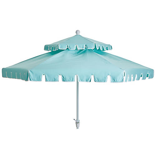 Poppy Two-Tier Patio Umbrella, Glacier Blue