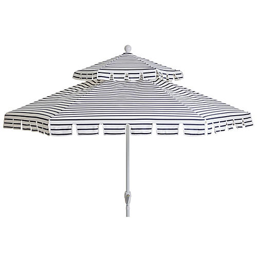 Poppy Two-Tier Patio Umbrella, Indigo