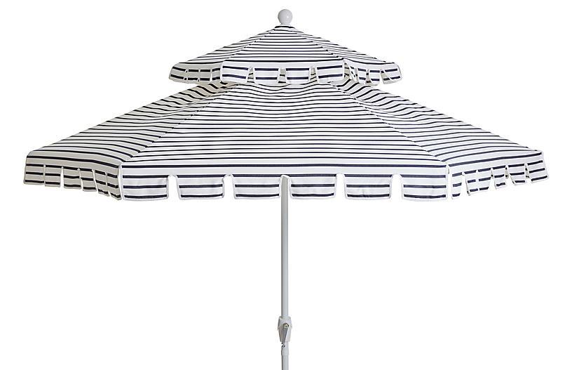 Poppy Two-Tier Patio Umbrella, Indigo