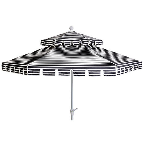 Poppy Two-Tier Patio Umbrella, Black/White