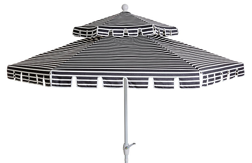 Poppy Two-Tier Patio Umbrella, Black/White