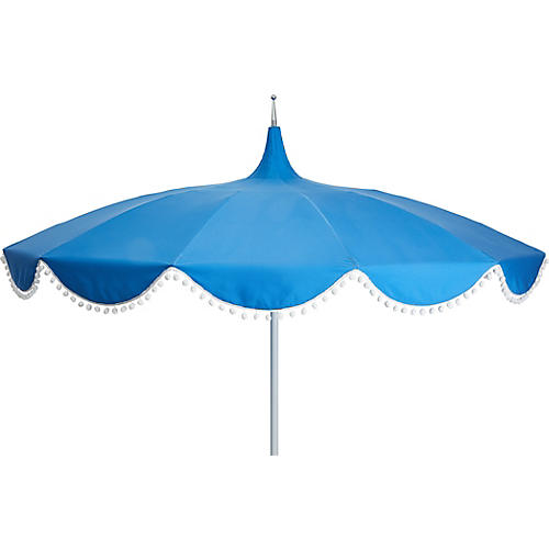 Dani Pom-Pom Patio Umbrella, Sky Blue