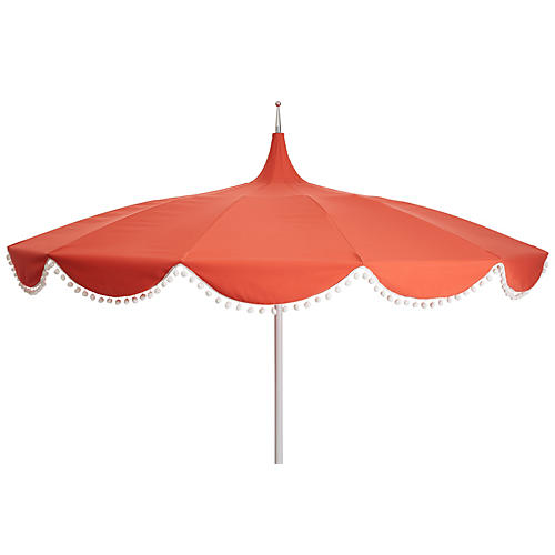 Dani Pom-Pom Patio Umbrella, Melon