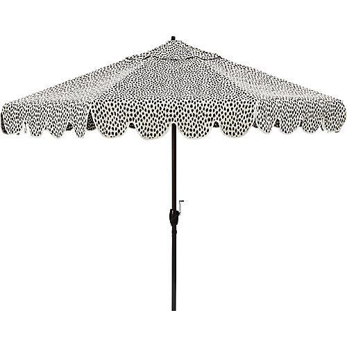 Phoebe Scallop-Edge Patio Umbrella, White Spot