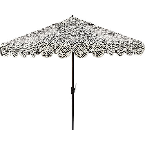 Phoebe Scallop-Edge Patio Umbrella, White Spot