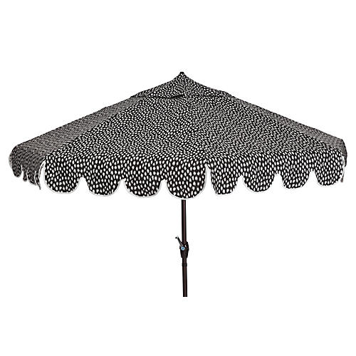 Phoebe Scallop-Edge Patio Umbrella, White/Black