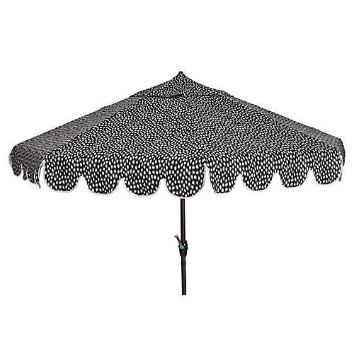 Phoebe Scallop-Edge Patio Umbrella, Black Spot