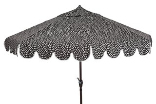 Phoebe Scallop Edge Patio Umbrella, Black Spot   New Markdowns   Must See  Markdowns   Sale | One Kings Lane