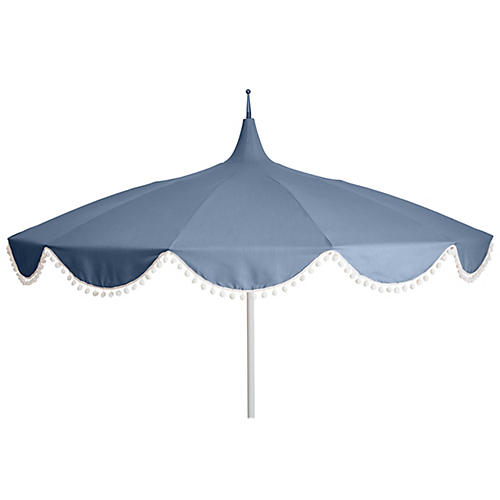 Dani Pom-Pom Patio Umbrella, Ocean
