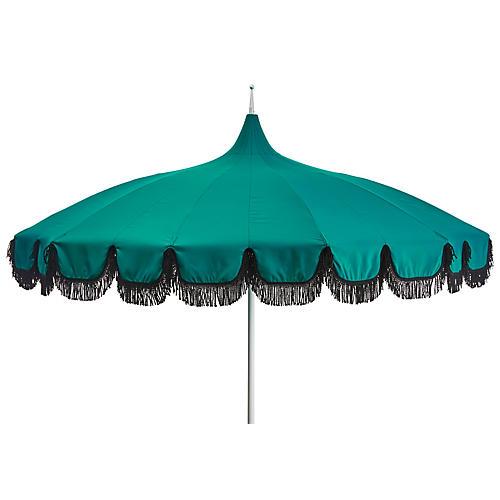 Aya Pagoda Fringe Patio Umbrella, Teal/Black