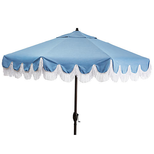 Phoebe Patio Umbrella, Ocean Blue/White