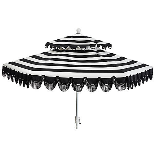 Daiana Two-Tier Patio Umbrella, Black/White Stripe