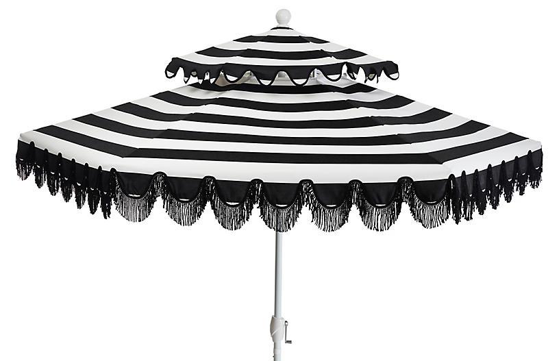 Daiana Two-Tier Patio Umbrella, Black/White Stripe