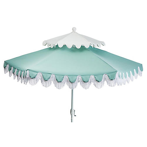 Anna Two-Tier Patio Umbrella, Mint/White
