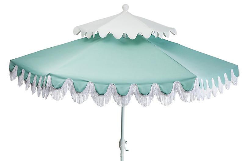 Anna Two-Tier Patio Umbrella, Mint/White
