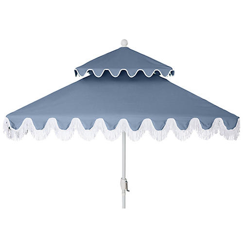 Hannah Two-Tier Square Patio Umbrella, Ocean/White