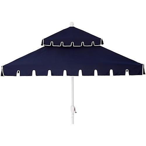 Liz Two-Tier Square Patio Umbrella, Navy