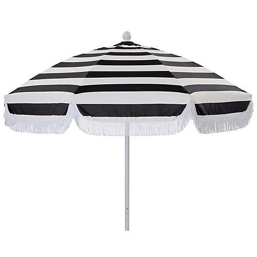 Elle Round Patio Umbrella, Black/White