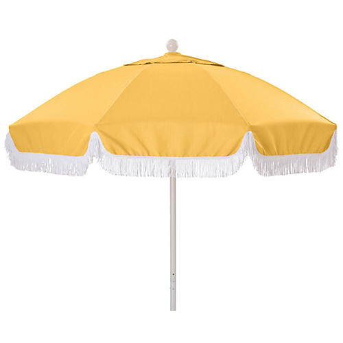 Elle Round Patio Umbrella, Yellow/White