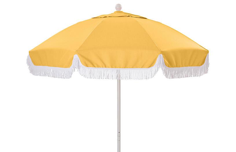 Elle Round Patio Umbrella, Yellow/White