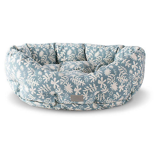 Desert Flower Cuddler Pet Bed, Blue/White