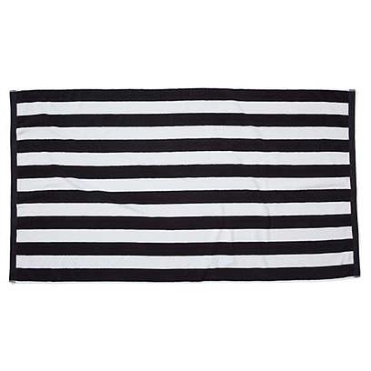 Cabana Stripe Beach Towel, Black
