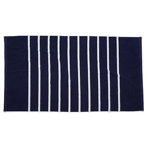 Breton Stripe Beach Towel, Navy/White