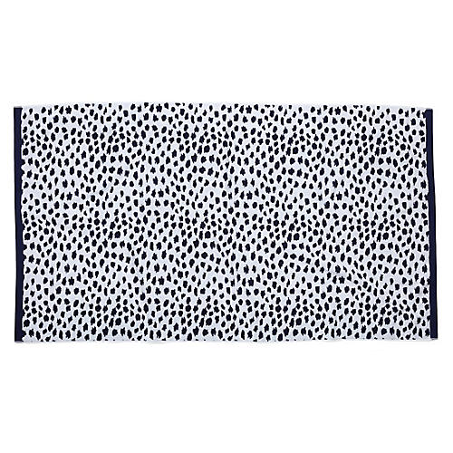 Leopard-Spot Beach Towel, Navy