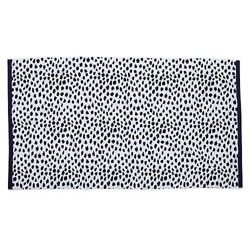 Leopard Beach Towel, Navy