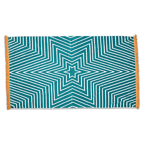 Celeste Fringed Beach Towel, Teal/Yellow