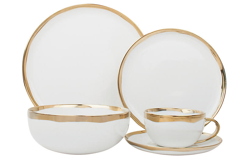 Asst. of 5 Dauville Place Setting, Gold/White