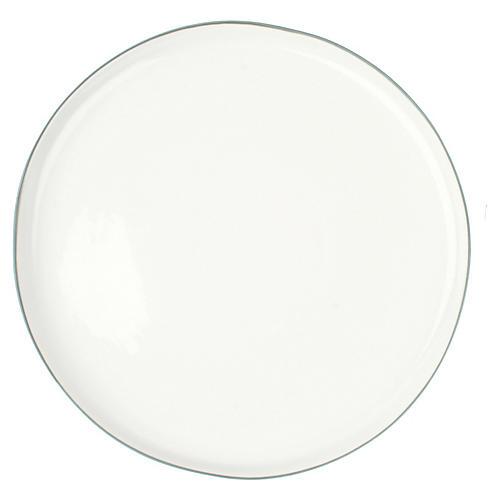 S/4 Abbesses Dinner Plates, White/Gray