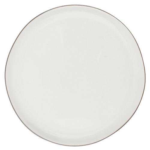 S/4 Abbesses Bread Plates, White/Platinum