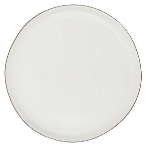 S/4 Abbesses Bread Plates, White/Platinum