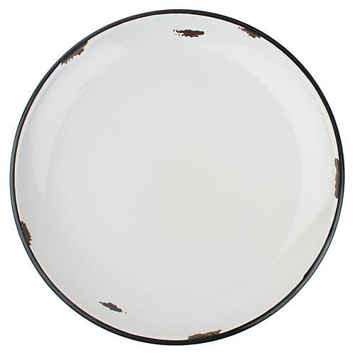 S/4 Tinware Dinner Plates, Red/Black