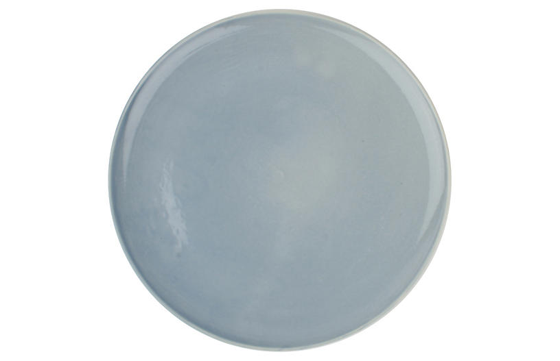 S/4 Shell Bisque Dinner Plates, Blue