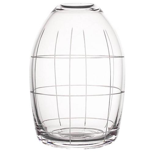 """7"""" Wren Large Grid Vase, Clear"""